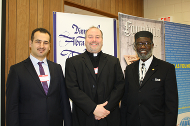 """The Atlas Foundation of New Orleans held a """"Dinner of Abrahamic Traditions"""" on Jan. 17 at St. Catherine of Siena Church in Metairie. The theme for the dinner was """"Perspectives of Abrahamic Traditions on Family."""" From left are Emrah Aktepe, executive director of Atlas Foundation, and guest speakers, the Rev. Buddy Noel of Our Lady of the Lake Catholic Church, and Rafeeq Numan, imam at Masjid ur-Rahim."""